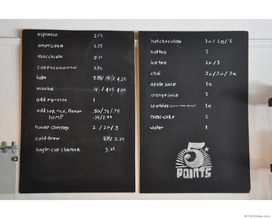 The coffee menu is handily-placed on the wall to the right...