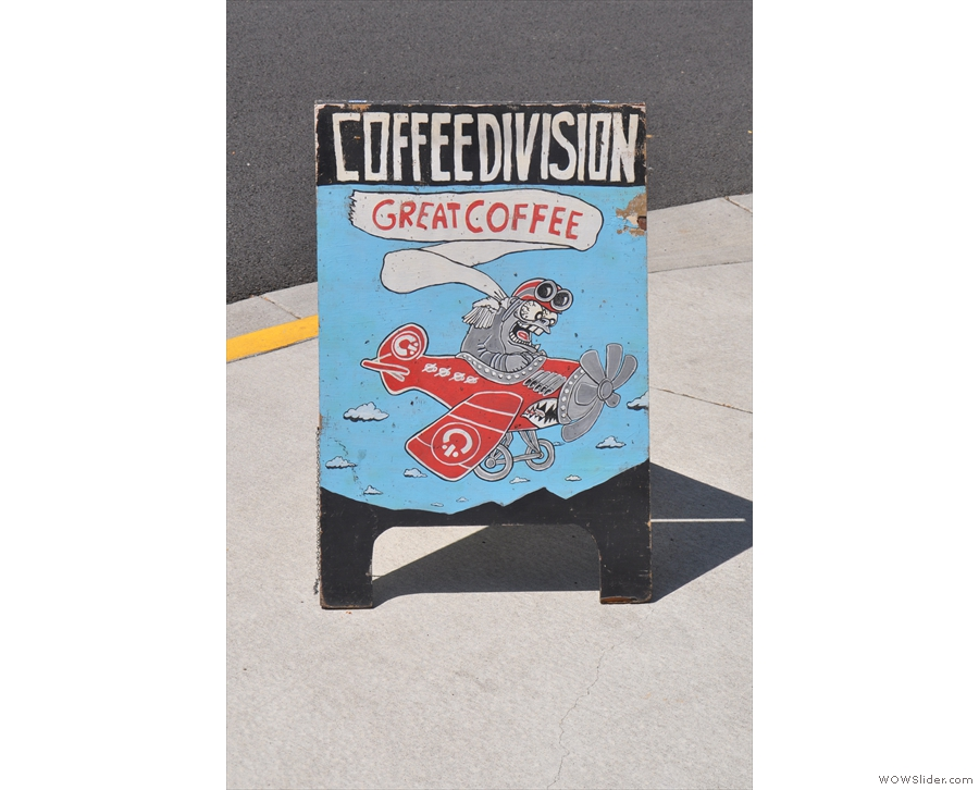 The coffee shop used to be called Coffee Division: the A-board hasn't caught up yet...