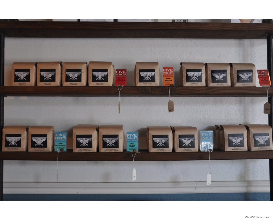 The full selection: espresso (red) on the top shelf, filter (blue) on the bottom.