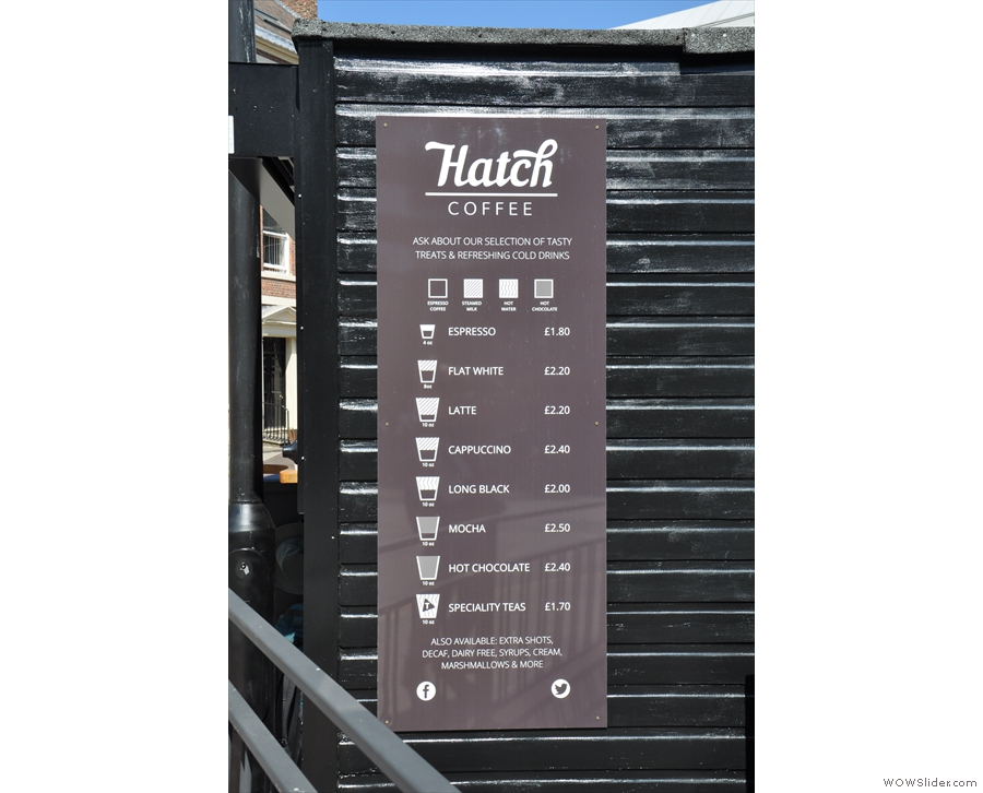The menu is on these boards on either side of Hatch...