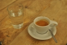 First up, this delightful espresso, which was delivered with a glass of water. I'm still unsure of the small cup/big handle look, but for picking the cup up, it's a winner!