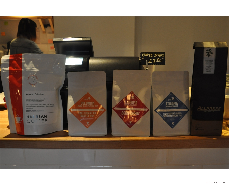 This is the full coffee range, by the way, with Neighbourhood Coffee doing the filter.