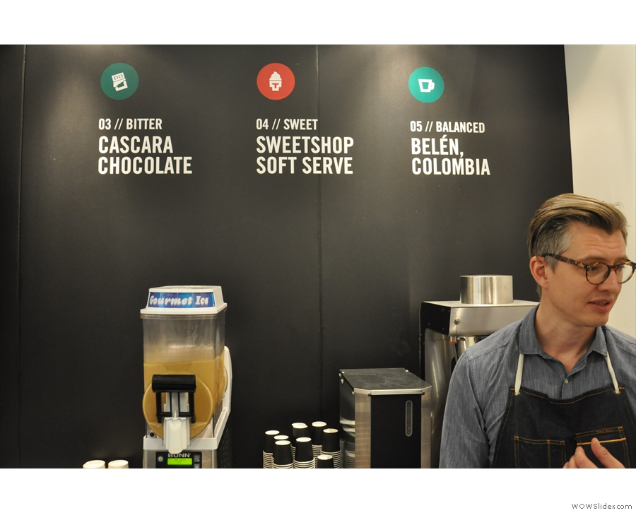 The 1st four stations each have a dominant taste, ending the with 5th, a well-balanced coffee!