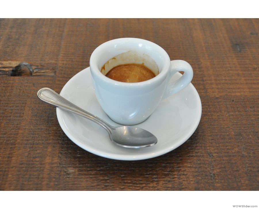 My Guatemalan single-origin espresso in a classic white cup.