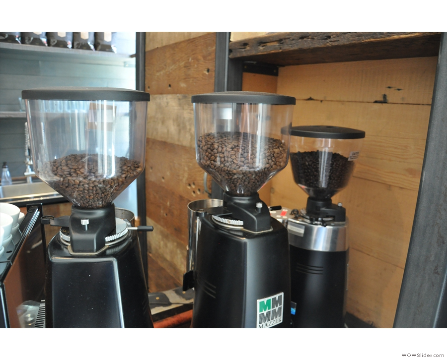 There are two single-origins and a decaf, each with its own grinder.
