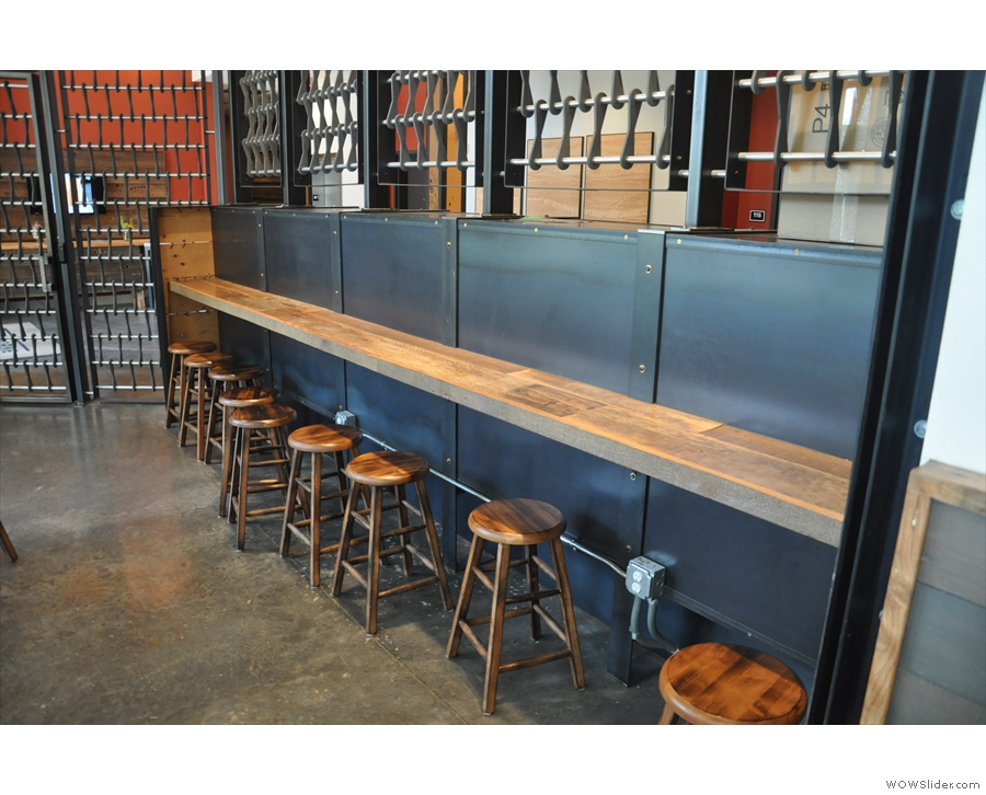 When you get to the bottom of the ramp, there's this lovely little bar, complete with stools.
