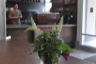 Flowers on the communal table.
