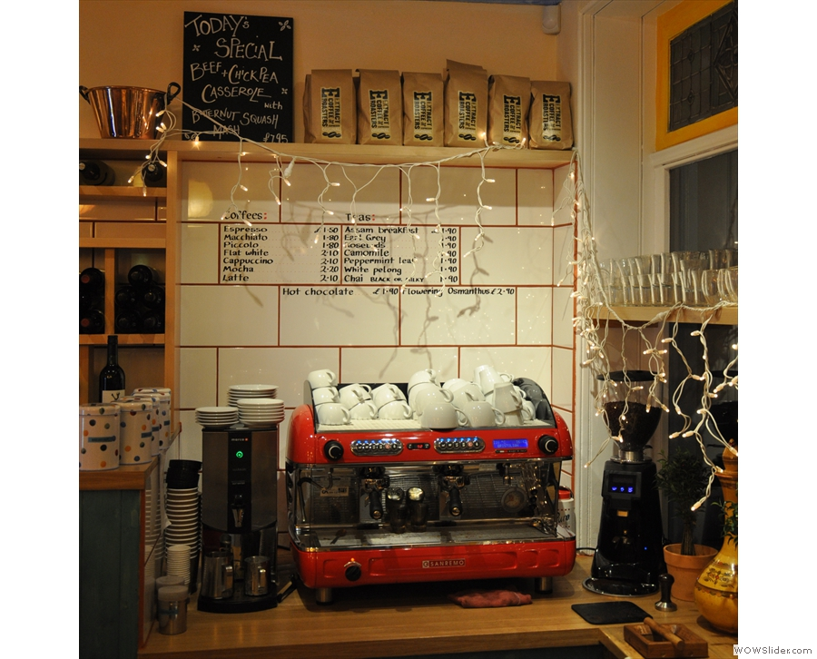 ... and here's the coffee menu. And espresso machine. And bags & bags of Extract Coffee.