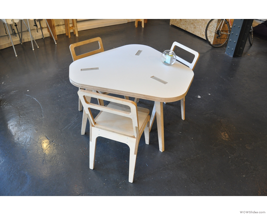 ... and weird, triangular-shaped tables like this.