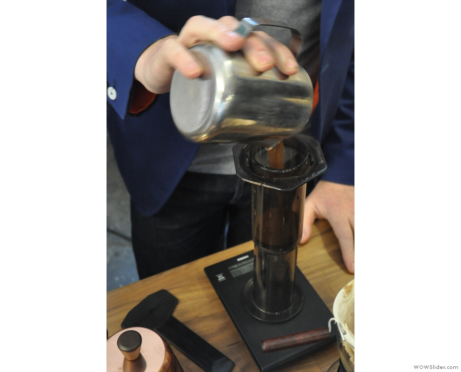 We believe this is a UK (maybe world) first: the Gatsby through an Aeropress.