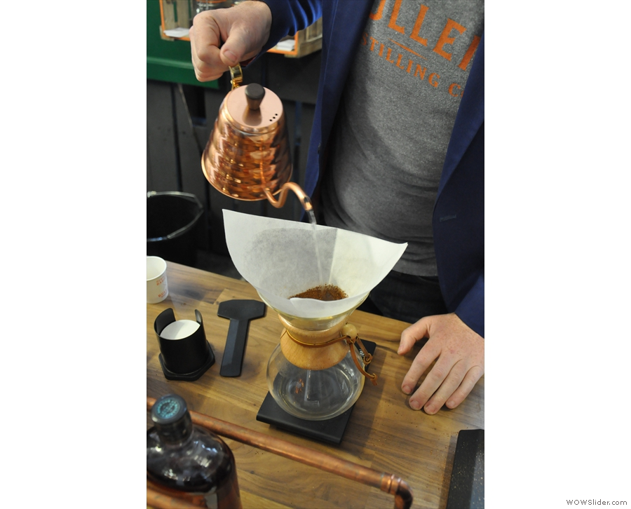 Then the beans are roasted and served. Here's the Gatsby being prepared as a Chemex.